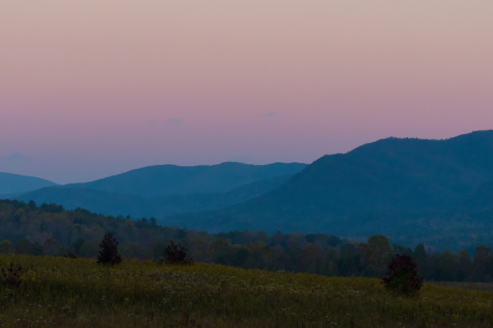 October 11, 2017: Sunset view from Cades Cove Loop Road.