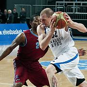 Anadolu Efes's Sinan Guler (R) during their Turkish Basketball League match Anadolu Efes between Trabzonspor at Sinan Erdem Arena in Istanbul, Turkey, Saturday, December 10, 2011. Photo by TURKPIX