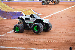 December 16, 2017 - Sao Paulo, Sao Paulo, Brazil - Alien Invasion in action during a round of racing. Monster Jam was held at Corinthians Stadium, in Sao Paulo, Brazil. (Credit Image: © Paulo Lopes via ZUMA Wire)