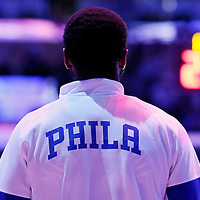22 March 2015: A Philadelphia 76ers player stands during the national anthem prior to the Los Angeles Lakers 101-87 victory over the Washington Wizards, at the Staples Center, Los Angeles, California, USA.