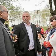 Alan Michelson, left, Mohawk member of Six Nations of the Grand River, speaks with Monacan Chief, Dean Branham and Karenne Wood, Monacan, prior to the dedication ceremony for Mantle: Virginia Indian Tribute, a monument designed on Virginia State Capitol Square, in Richmond, Virginia, on Tuesday, April 17, 2018. Michelson, an artist based in New York, designed the monument.  John Boal Photography