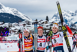 28.01.2018, Seefeld, AUT, FIS Weltcup Langlauf, Seefeld, FIS Weltcup Langlauf, 10 km Sprint, Damen, Siegerehrung, im Bild v.l.: Heidi Weng (NOR), Jessica Diggins (USA), Ragnhild Haga (NOR) // f.l.: Heidi Weng of Norway Jessica Diggins of the USA and Ragnhild Haga of Norway during winner ceremony of ladie's 10 km sprint of the FIS cross country world cup in Seefeld, Austria on 2018/01/28. EXPA Pictures © 2018, PhotoCredit: EXPA/ Stefan Adelsberger