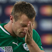 Tommy Bowe, Ireland, contemplates his sides defeat after the Ireland V Wales Quarter Final match at the IRB Rugby World Cup tournament. Wellington Regional Stadium, Wellington, New Zealand, 8th October 2011. Photo Tim Clayton...