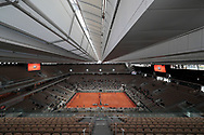 Illustration wide view of roof top closed of Philippe Chatrier stadium during the Roland Garros 2020, Grand Slam tennis tournament, on October 4, 2020 at Roland Garros stadium in Paris, France - Photo Stephane Allaman / ProSportsImages / DPPI