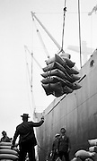 1002271___Dock workers unloading cargo ship with cranes on San Francisco docks