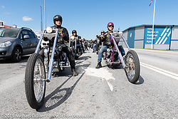Twin Club MC president Micke Sandberg riding his S&S Shovelhead Swedish style chopper on a club ride out from the club house in Norrtälje after their annual Custom Bike Show. Sweden. Sunday, June 2, 2019. Photography ©2019 Michael Lichter.