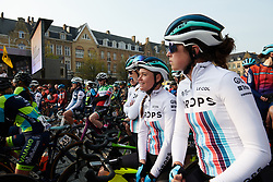 Abby-Mae Parkinson (GBR) lines up with her Drops teammates at Gent Wevelgem - Elite Women 2019, a 136.9 km road race from Ieper to Wevelgem, Belgium on March 31, 2019. Photo by Sean Robinson/velofocus.com
