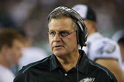 Offensive line coach Jeff Stoutland on the during the game against the Pittsburgh Steelers at Lincoln Financial Field on Aug 21, 2014 in Philadelphia, Pa. (Photo by John Geliebter/Philadelphia Eagles