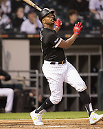 CHICAGO - MAY 30:  Eloy Jimenez #74 of the Chicago White Sox bats against the Cleveland Indians on May 30, 2019 at Guaranteed Rate Field in Chicago, Illinois.  (Photo by Ron Vesely)  Subject:  Eloy Jimenez