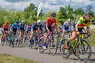 Hannah Barnes (GBR) (middle-orange) riding for Canyon//SRAM Racing during Stage 2 of the OVO Energy Women's Tour 2019 at Cyclopark, Gravesend, United Kingdom on 11 June 2019.