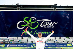 Best young rider Tadej Pogacar (SLO) of UAE Team Emirates celebrates in white jersey  at trophy ceremony after the 2nd Stage of 26th Tour of Slovenia 2019 cycling race between Maribor and Celje (146,3 km), on June 20, 2019 in  Slovenia. Photo by Vid Ponikvar / Sportida