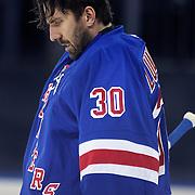 Henrik Lundqvist, New York Rangers, during the New York Rangers Vs Philadelphia Flyers, NHL regular season game at Madison Square Garden, New York, USA. 26th March 2014. Photo Tim Clayton