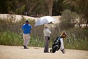 Abu Dhabi, United Arab Emirates (UAE). March 20th 2009.<br /> Al Ghazal Golf Club.<br /> 36th Abu Dhabi Men's Open Championship.<br /> Willy Low (left)