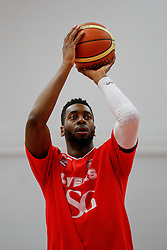 Alif Bland of Bristol Flyers warms up before the match - Photo mandatory by-line: Rogan Thomson/JMP - 07966 386802 - 13/02/2015 - SPORT - BASKETBALL - Bristol, England - SGS Wise Arena - Bristol Flyers v Surrey United - BBL Championship.