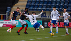20MAR21 Falkirk's Morgaro Gomis and Montrose Cammy Ballantyne. half time : Falkirk 1 v 0 Montrose, Scottish Football League Division One game played 20/3/2021 at The Falkirk Stadium.