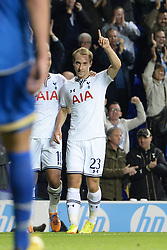 19.09.2013, White Hart Lane, London, ENG, UEFA Champions League, Tottenham Hotspur vs Toromsoe IL, Gruppe K, im Bild Tottenham's Christian Eriksen celebrates scoring a goal during UEFA Champions League group K match between Tottenham Hotspur vs Toromsoe IL at the White Hart Lane, London, United Kingdom on 2013/09/19 . EXPA Pictures © 2013, PhotoCredit: EXPA/ Mitchell Gunn <br /> <br /> ***** ATTENTION - OUT OF GBR *****