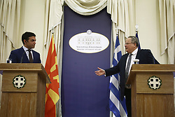 June 14, 2017 - Athens, Greece - Foreign Minister of Macedonia Nikola Dimitrov (L) with Greek Foreign Minister, Nikos Kotzias, during  joint statements to the press, after their meeting in Athens, on Wednesday, June 14, 2017. (Credit Image: © Panayotis Tzamaros/NurPhoto via ZUMA Press)