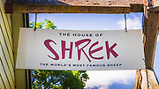 Shrek the famous sheep sign, Tarras Country Store, Otago, South Island, New Zealand