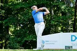 September 2, 2018 - Norton, MA, U.S. - NORTON, MA - SEPTEMBER 02: Jordan Spieth of the United States drives from the 9th tee during the Third Round of the Dell Technologies Championship on September 2, 2018, at TPC Boston in Norton, Massachusetts. (Photo by Fred Kfoury III/Icon Sportswire) (Credit Image: © Fred Kfoury Iii/Icon SMI via ZUMA Press)