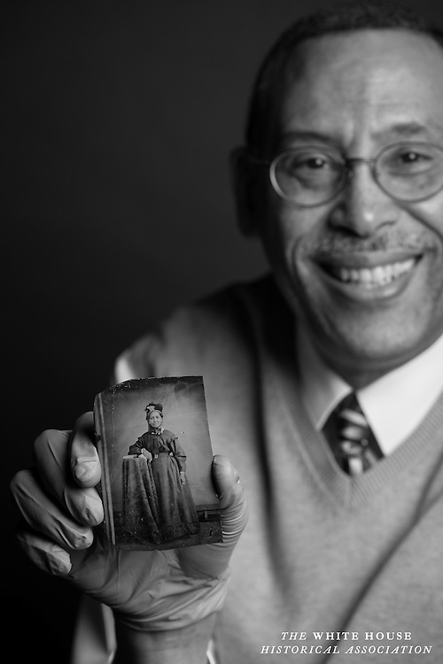 Decatur House, Washington, D.C. -- Stephen Hammond with a photograph of Margaret Syphax, an enslaved woman and possible resident at Decatur House (Her mother, Nancy, definitely lived at Decatur House.). Mr. Hammond has researched the history of his family extensively.