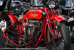 Jim Petty's 1927 Indian Chief after the finish of stage 12 (299 m) of the Motorcycle Cannonball Cross-Country Endurance Run, which on this day ran from Springville, UT to Elko, NV, USA. Wednesday, September 17, 2014.  Photography ©2014 Michael Lichter.