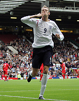 Photo: Paul Thomas.<br /> England v Andorra. European Championships 2008 Qualifying. 02/09/2006.<br /> <br /> Peter Crouch celebrates his goal.