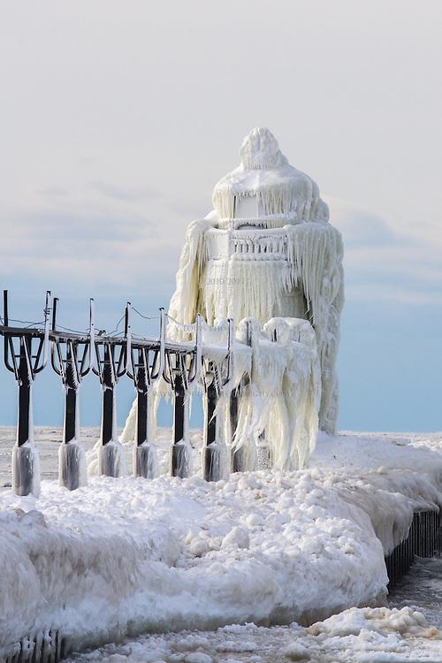 The St. Joseph north pier beacon wearing its winter coat of ice.