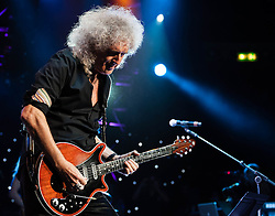 "© Licensed to London News Pictures. 16/09/2012. London, UK.  Brian May and Bruce Dickinson perform at The Sunflower Jam at the Royal Albert Hall.  Brian May is a founding member and guitarist of Queen.  The Sunflower Jam is a British charity, founded by Jacky Paice, wife of Deep Purple drummer, Ian Paice. Other high-profile supporters are the actor Jeremy Irons, ex-Jamiroquai bassist Nick Fyffe and Charles, Prince of Wales. The aims of the charity are to fund complementary therapists and spiritual healers to work on cancer wards in the British National Health Service. After setting up a meeting between members of Deep Purple and a young boy dying of leukemia, Paice saw ""all the good work the healers were doing"" and decided ""lets find a way to raise money to get more healers in there. Photo credit : Richard Isaac/LNP"