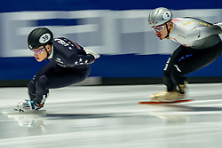 Andrew Heo of USA, Shaolin Sandor Liu of Hungary in action on 1000 meter during ISU World Short Track speed skating Championships on March 05, 2021 in Dordrecht