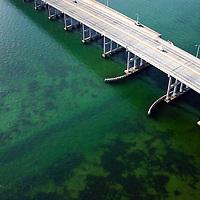 Aerial intracoastal waterway channel and Rickenbacker Causeway Miami FL