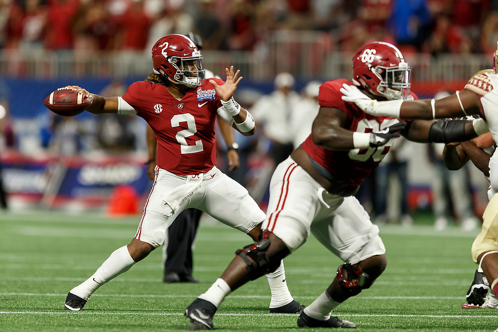 Alabama Crimson Tide quarterback Jalen Hurts (2) attempts a pass against the Florida State Seminoles during the Chick-fil-A Kickoff NCAA football game on Saturday, September 2, 2017, in Atlanta. (Paul Abell via Abell Images for Chick-fil-A Kickoff Game)