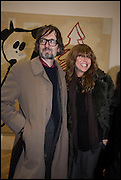JARVIS COCKER AND KIM SION at the Private view for A Strong Sweet Smell of Incense<br /> A Portrait of Robert Fraser, Curated by Brian Clarke. Pace Gallery. 6 Burlington Gardens. London. 5 February 2015.