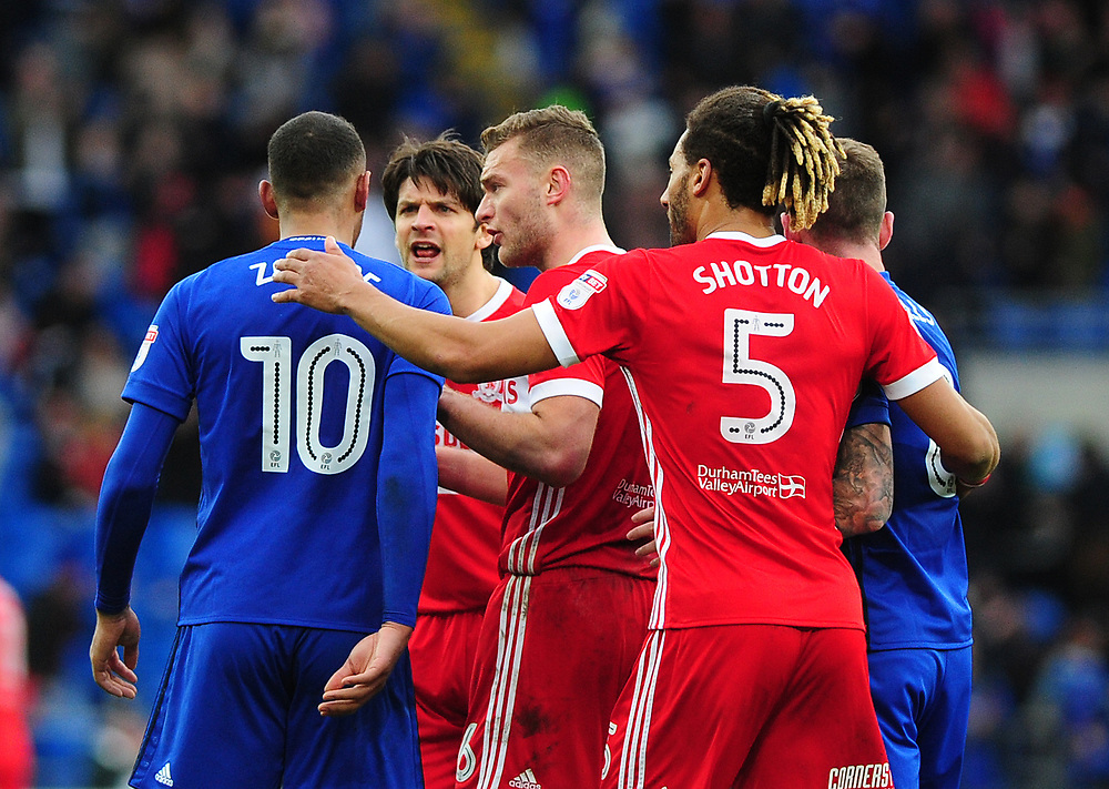 Tempers flair at full time between Cardiff City's Kenneth Zohore and Middlesbrough's George Friend<br /> <br /> Photographer Ashley Crowden/CameraSport<br /> <br /> The EFL Sky Bet Championship - Cardiff City v Middlesbrough - Saturday 17th February 2018 - Cardiff City Stadium - Cardiff<br /> <br /> World Copyright © 2018 CameraSport. All rights reserved. 43 Linden Ave. Countesthorpe. Leicester. England. LE8 5PG - Tel: +44 (0) 116 277 4147 - admin@camerasport.com - www.camerasport.com