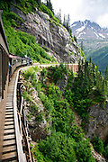 Aboard the White Pass Yukon Route Railroad from Skagway, Alaska on historic steam engine 73..