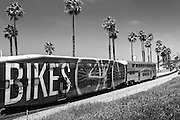 Metrolink Passing Through San Clemente Black and White Photo