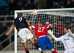 Falkirk's Farid El Alagui scoring their second goal..Falkirk 3 v 2 Rangers..©Pic : Michael Schofield.