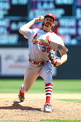 May 16, 2018 - Minneapolis, MN, U.S. - MINNEAPOLIS, MN - MAY 16: St. Louis Cardinals starting pitcher Miles Mikolas (39) throws a pitch during the regular season game between the St. Louis Cardinals and the Minnesota Twins on May 16, 2018 at Target Field in Minneapolis, Minnesota. (Photo by David Berding/Icon Sportswire) (Credit Image: © David Berding/Icon SMI via ZUMA Press)