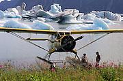1943 Norseman Floatplane #21 in icebergs, Bear Lake. Seward, Alaska.