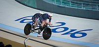 20160911 Copyright onEdition 2016©<br /> Free for editorial use image, please credit: onEdition<br /> <br /> Cyclist Neil Fachie MBE (Tandem B) from Aberdeen, wins a silver medal competing for ParalympicsGB at the Rio Paralympic Games 2016.<br />  <br /> ParalympicsGB is the name for the Great Britain and Northern Ireland Paralympic Team that competes at the summer and winter Paralympic Games. The Team is selected and managed by the British Paralympic Association, in conjunction with the national governing bodies, and is made up of the best sportsmen and women who compete in the 22 summer and 4 winter sports on the Paralympic Programme.<br /> <br /> For additional Images please visit: http://www.w-w-i.com/paralympicsgb_2016/<br /> <br /> For more information please contact the press office via press@paralympics.org.uk or on +44 (0) 7717 587 055<br /> <br /> If you require a higher resolution image or you have any other onEdition photographic enquiries, please contact onEdition on 0845 900 2 900 or email info@onEdition.com<br /> This image is copyright onEdition 2016©.<br /> <br /> This image has been supplied by onEdition and must be credited onEdition. The author is asserting his full Moral rights in relation to the publication of this image. Rights for onward transmission of any image or file is not granted or implied. Changing or deleting Copyright information is illegal as specified in the Copyright, Design and Patents Act 1988. If you are in any way unsure of your right to publish this image please contact onEdition on 0845 900 2 900 or email info@onEdition.com