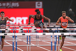 February 7, 2018 - Paris, Ile-de-France, France - Jarret Eaton (C) of USA competes in 60m Hurdles during the Athletics Indoor Meeting of Paris 2018, at AccorHotels Arena (Bercy) in Paris, France on February 7, 2018. (Credit Image: © Michel Stoupak/NurPhoto via ZUMA Press)