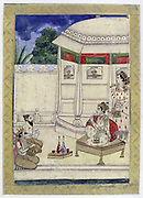 Album of Ragamala. A prince sits on the terrace of a pavilion listening to music played by Narada, bearded divine sage, and a Kinnara, celestial musician half man half horse.   19th century Indian miniature, Rajasthan School.