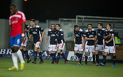 Falkirk's Craig Sibbald cele scoring their goal. <br /> Falkirk 1 v 0 Cowdenbeath, William Hill Scottish Cup game played 29/11/2014 at The Falkirk Stadium.