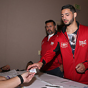 Julian Rodriguez prior to weigh ins for the Top Rank boxing event at Osceola Heritage Park in Kissimmee, Florida on September 21, 2016.