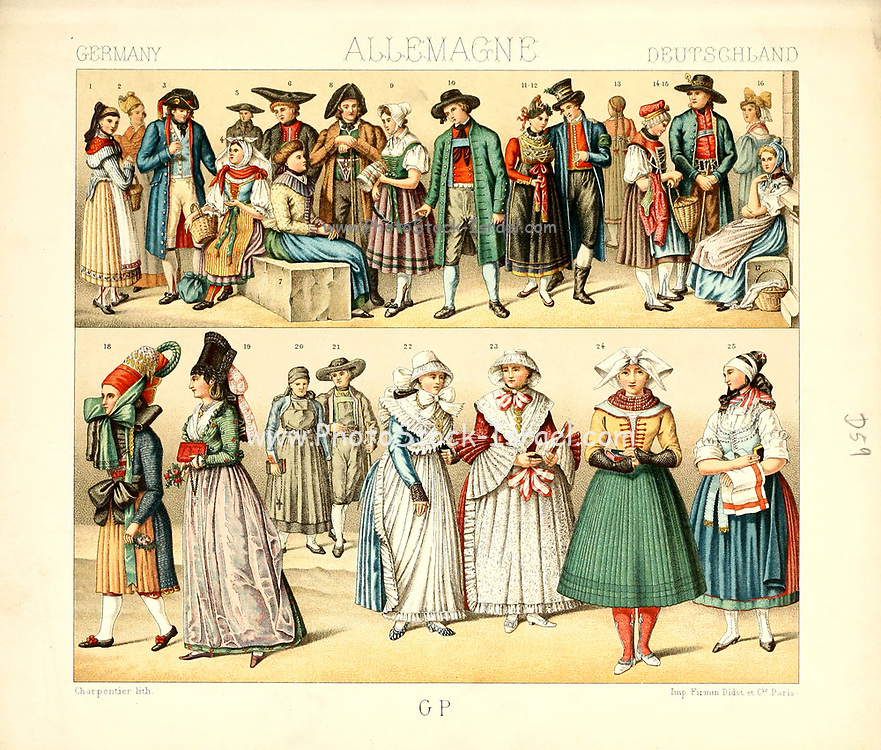 Ancient German fashion and lifestyle, 18th century from Geschichte des kostums in chronologischer entwicklung (History of the costume in chronological development) by Racinet, A. (Auguste), 1825-1893. and Rosenberg, Adolf, 1850-1906, Volume 5 printed in Berlin in 1888