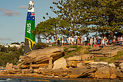 SailGP Australia Team passes Shark Island on day one of competition. Event 1 Season 1 SailGP event in Sydney Harbour, Sydney, Australia. 15 February 2019. Photo: Chris Cameron for SailGP. Handout image supplied by SailGP