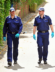 © Licensed to London News Pictures. 08/08/2018<br /> Deptford, UK. Police search team searching an area opposite a property where 7 year Joel Urhie was killed in a suspicious house fire at Adolphus Street, Deptford.  <br /> Photo credit: Grant Falvey/LNP