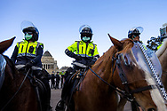 MELBOURNE, VIC - SEPTEMBER 05: Mounted Police close in on protesters during the Anti-Lockdown Protest on September 05, 2020 in Sydney, Australia. Stage 4 restrictions are in place from 6pm on Sunday 2 August for metropolitan Melbourne. This includes a curfew from 8pm to 5am every evening. During this time people are only allowed to leave their house for work, and essential health, care or safety reasons. (Photo by Dave Hewison/Speed Media)