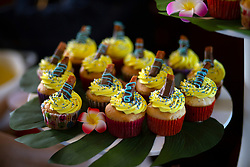 Dawn Santos of Ione, Calif. concocted Spam cupcakes with maple frosting, topped with a garnish of chocolate-dipped Spam, at the 22nd annual Spam Festival, Sunday, Feb. 16, 2019, in Isleton, Calif. Spam lovers competed for prizes by presenting their favorite Spam-infused foods, or entering the Spam-eating and Spam-toss contests. (Photo by D. Ross Cameron)