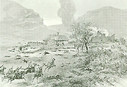 The Zulus having met with effective resistance from the British garrison of the fortified post near Rorkesdrift had retired, although they had succeeded in setting the various buildings on fire.  To the left is the house of the Rev. Witt and to the right is the house used as a Hospital.  On the foreground, to the left, the mounted men, under Lieut Col Russell, galloping up to the Hospital to rescue the beleaguered garrison.