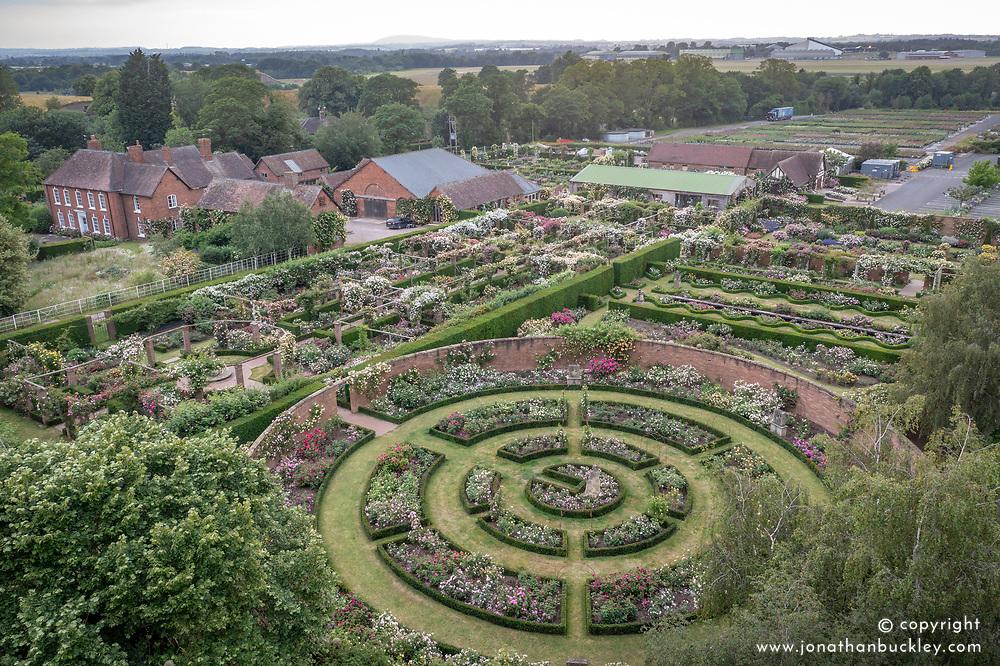 Aerial view of The David Austin Rose Gardens